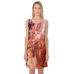 Fire In The Forest Artistic Reproduction Of A Forest Photo Sleeveless Satin Nightdress