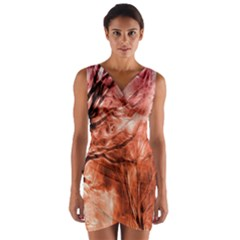 Fire In The Forest Artistic Reproduction Of A Forest Photo Wrap Front Bodycon Dress
