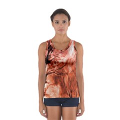 Fire In The Forest Artistic Reproduction Of A Forest Photo Women s Sport Tank Top