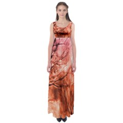 Fire In The Forest Artistic Reproduction Of A Forest Photo Empire Waist Maxi Dress