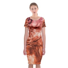 Fire In The Forest Artistic Reproduction Of A Forest Photo Classic Short Sleeve Midi Dress