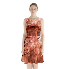 Fire In The Forest Artistic Reproduction Of A Forest Photo Sleeveless Chiffon Waist Tie Dress