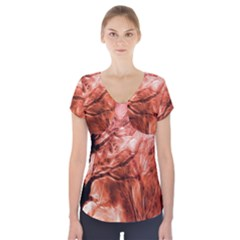 Fire In The Forest Artistic Reproduction Of A Forest Photo Short Sleeve Front Detail Top