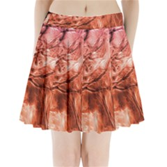 Fire In The Forest Artistic Reproduction Of A Forest Photo Pleated Mini Skirt