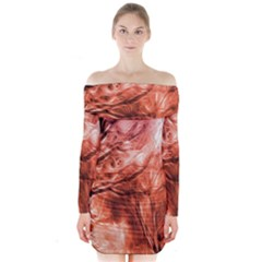 Fire In The Forest Artistic Reproduction Of A Forest Photo Long Sleeve Off Shoulder Dress