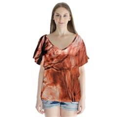 Fire In The Forest Artistic Reproduction Of A Forest Photo Flutter Sleeve Top