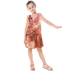 Fire In The Forest Artistic Reproduction Of A Forest Photo Kids  Sleeveless Dress