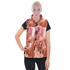 Fire In The Forest Artistic Reproduction Of A Forest Photo Women s Button Up Puffer Vest