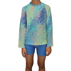 Colorful Patterned Glass Texture Background Kids  Long Sleeve Swimwear