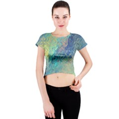 Colorful Patterned Glass Texture Background Crew Neck Crop Top
