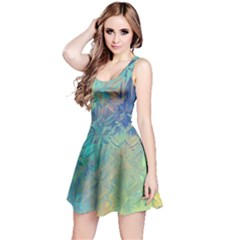 Colorful Patterned Glass Texture Background Reversible Sleeveless Dress