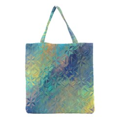 Colorful Patterned Glass Texture Background Grocery Tote Bag