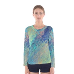 Colorful Patterned Glass Texture Background Women s Long Sleeve Tee