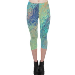 Colorful Patterned Glass Texture Background Capri Leggings