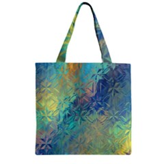 Colorful Patterned Glass Texture Background Zipper Grocery Tote Bag