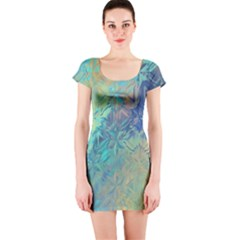 Colorful Patterned Glass Texture Background Short Sleeve Bodycon Dress