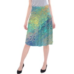 Colorful Patterned Glass Texture Background Midi Beach Skirt