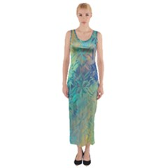 Colorful Patterned Glass Texture Background Fitted Maxi Dress