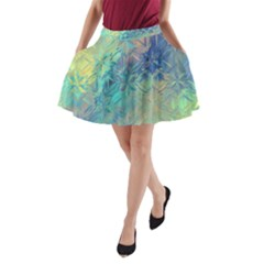 Colorful Patterned Glass Texture Background A Line Pocket Skirt