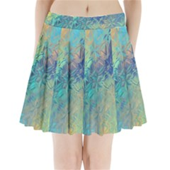 Colorful Patterned Glass Texture Background Pleated Mini Skirt