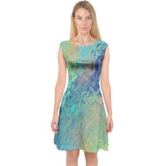 Colorful Patterned Glass Texture Background Capsleeve Midi Dress