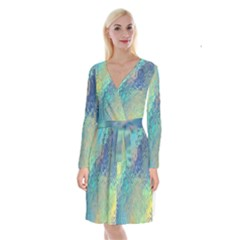 Colorful Patterned Glass Texture Background Long Sleeve Velvet Front Wrap Dress