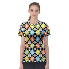 Diamond Argyle Pattern Colorful Diamonds On Argyle Style Women s Sport Mesh Tee
