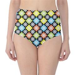 Diamond Argyle Pattern Colorful Diamonds On Argyle Style High-Waist Bikini Bottoms
