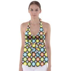 Diamond Argyle Pattern Colorful Diamonds On Argyle Style Babydoll Tankini Top