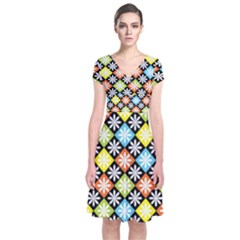 Diamond Argyle Pattern Colorful Diamonds On Argyle Style Short Sleeve Front Wrap Dress