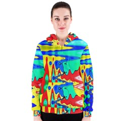 Bright Colours Abstract Women s Zipper Hoodie