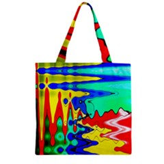 Bright Colours Abstract Zipper Grocery Tote Bag