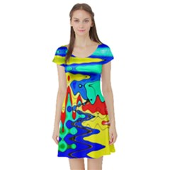 Bright Colours Abstract Short Sleeve Skater Dress