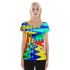 Bright Colours Abstract Women s Cap Sleeve Top