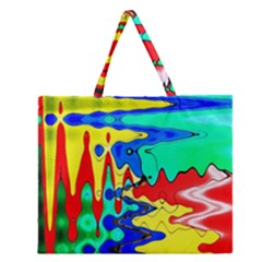 Bright Colours Abstract Zipper Large Tote Bag