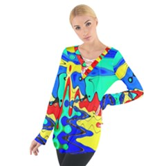 Bright Colours Abstract Women s Tie Up Tee