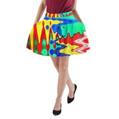 Bright Colours Abstract A Line Pocket Skirt