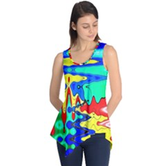Bright Colours Abstract Sleeveless Tunic