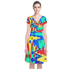Bright Colours Abstract Short Sleeve Front Wrap Dress