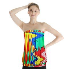 Bright Colours Abstract Strapless Top