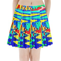 Bright Colours Abstract Pleated Mini Skirt