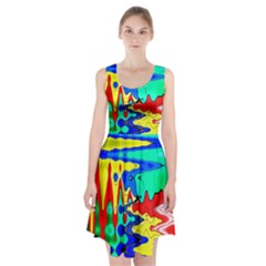 Bright Colours Abstract Racerback Midi Dress