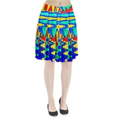 Bright Colours Abstract Pleated Skirt
