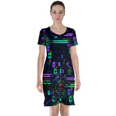 Digital Painting Colorful Colors Light Short Sleeve Nightdress