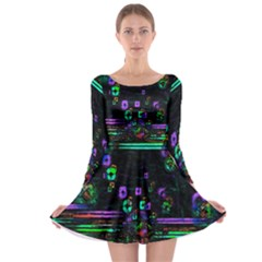 Digital Painting Colorful Colors Light Long Sleeve Skater Dress