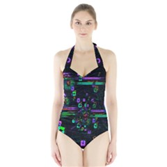 Digital Painting Colorful Colors Light Halter Swimsuit