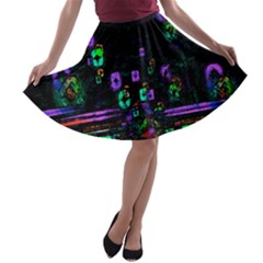 Digital Painting Colorful Colors Light A Line Skater Skirt