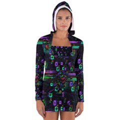 Digital Painting Colorful Colors Light Women s Long Sleeve Hooded T Shirt