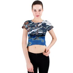 Colorful Reflections In Water Crew Neck Crop Top