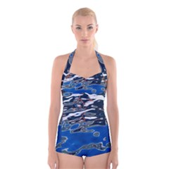 Colorful Reflections In Water Boyleg Halter Swimsuit